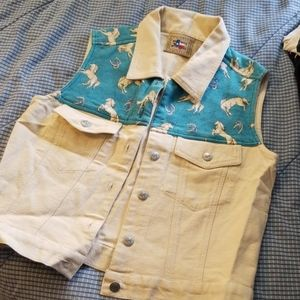 Turquoise and twill horse vest